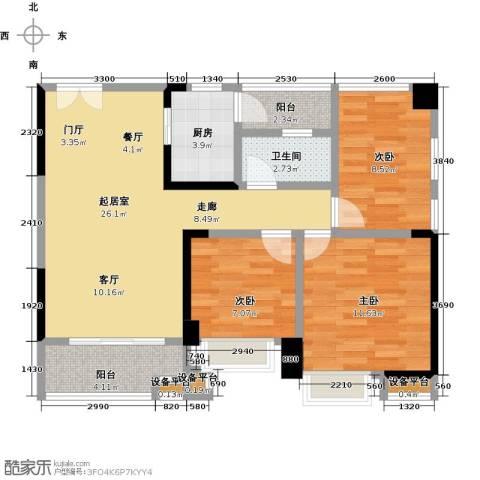 中建投峰汇中心3室0厅1卫1厨85.00㎡户型图