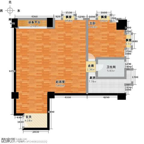 嘉业大厦二期1室0厅1卫1厨136.00㎡户型图