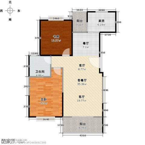 荣德棕榈湾二期2室1厅1卫1厨85.00㎡户型图