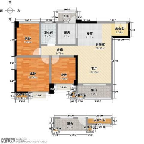 中建投峰汇中心3室0厅1卫1厨87.00㎡户型图