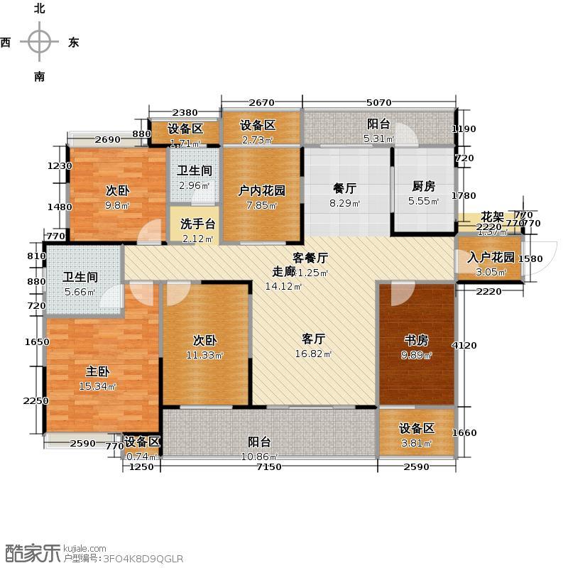 融科东南海152.00㎡D2户型 四房两厅两卫户型4室2厅2卫