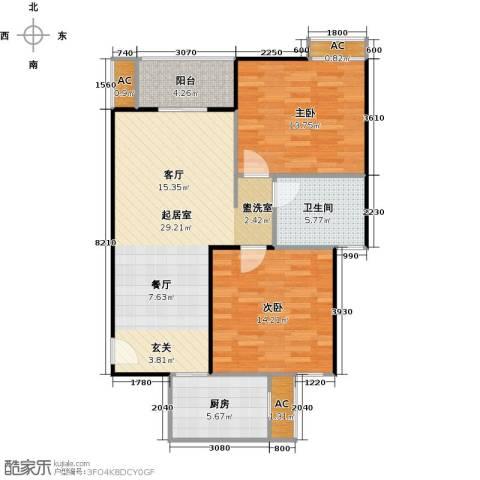 世嘉国际华城二期2室0厅1卫1厨102.00㎡户型图