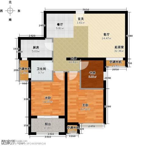 嘉友水岸观邸3室0厅1卫1厨89.00㎡户型图