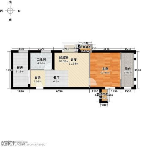嘉友水岸观邸1室0厅1卫1厨56.00㎡户型图