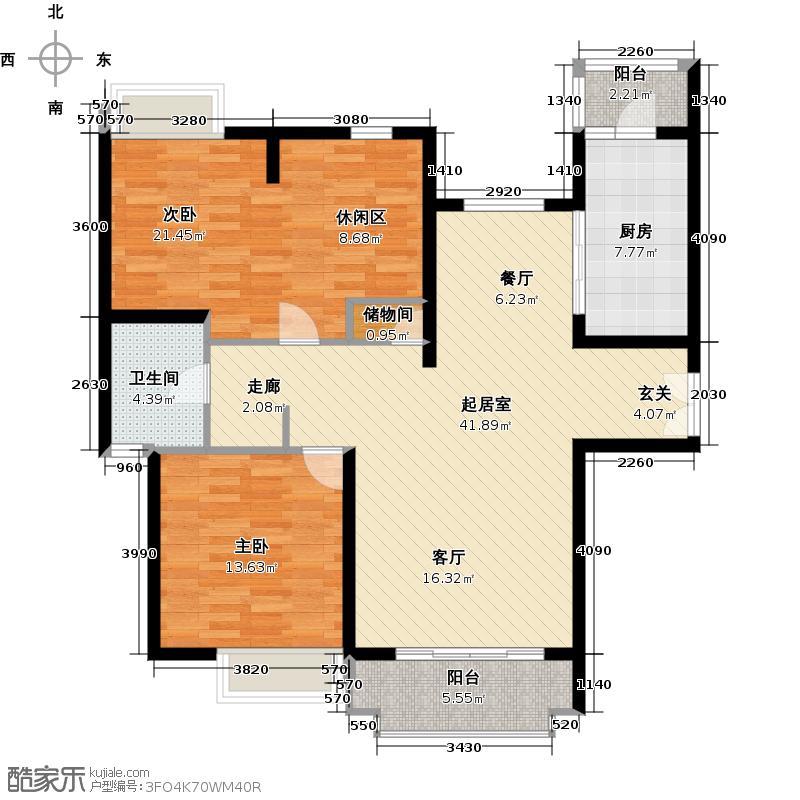 中海瀛台一期110.00㎡房型: 二房; 面积段: 110 -120 平方米;户型