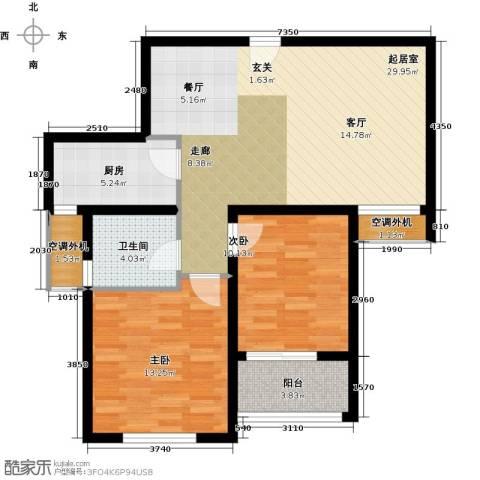 嘉友水岸观邸2室0厅1卫1厨79.00㎡户型图