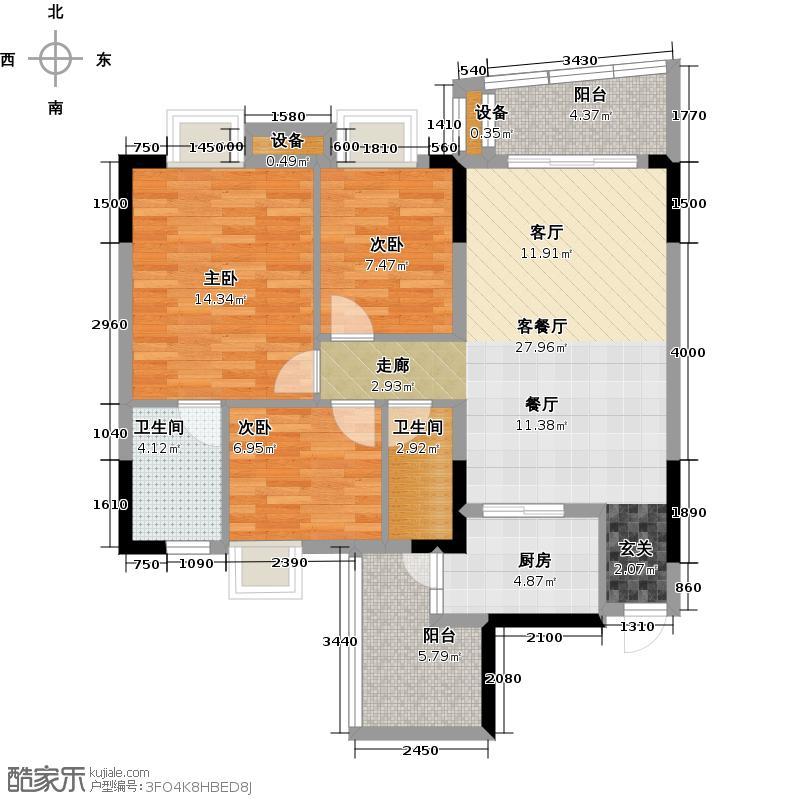 保利香槟花园三房二厅二卫87平方米户型