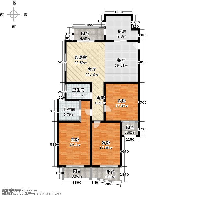虹叶茗园二期150.00㎡房型: 三房; 面积段: 150 -160 平方米; 户型