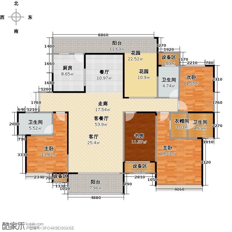 融科东南海东海D4户型 四房两厅三卫户型4室2厅3卫