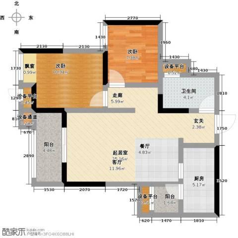 蒂梵尼TOWN2室0厅1卫1厨80.00㎡户型图