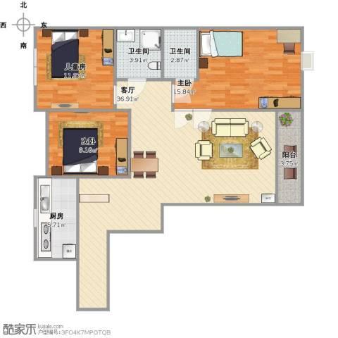 石山新天地3室1厅2卫1厨120.00㎡户型图