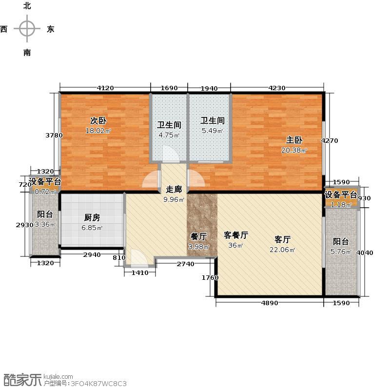 紫金长安102.30㎡2室-2厅-2卫-1厨户型