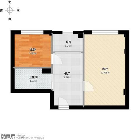 高祥里1室2厅1卫1厨59.00㎡户型图