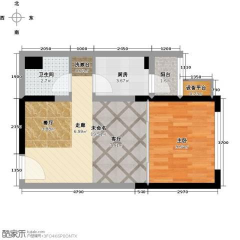 复城国际1室0厅1卫1厨51.00㎡户型图