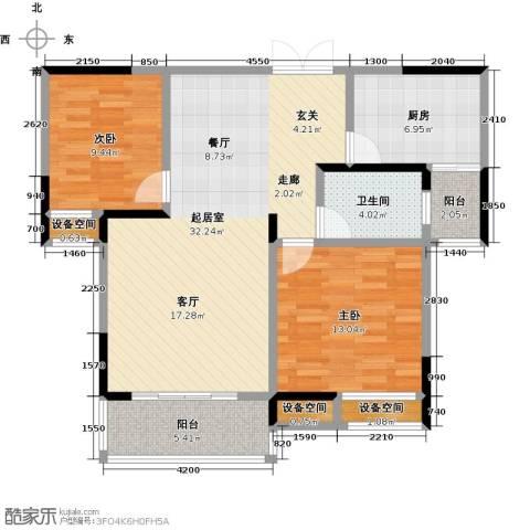 益阳国色天香2室0厅1卫1厨108.00㎡户型图