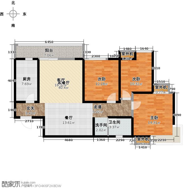 阳光100国际新城107.84㎡B3 正内 三室两厅一卫户型3室2厅1卫