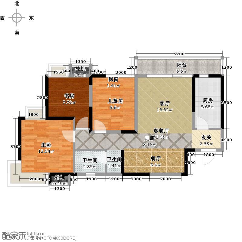 阳光100国际新城108.50㎡B3 三室两厅一卫户型3室2厅1卫