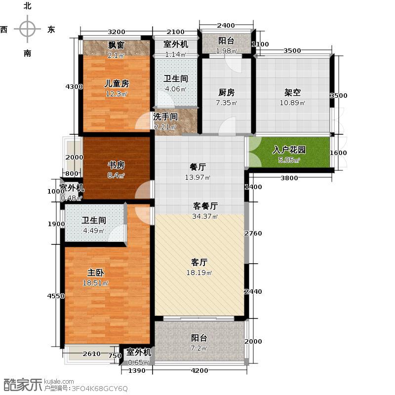 阳光100国际新城95.00㎡阳光100五期户型 三室两厅两卫户型3室2厅2卫