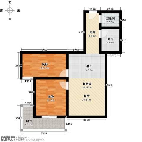 福安公寓AB栋2室0厅1卫1厨75.00㎡户型图