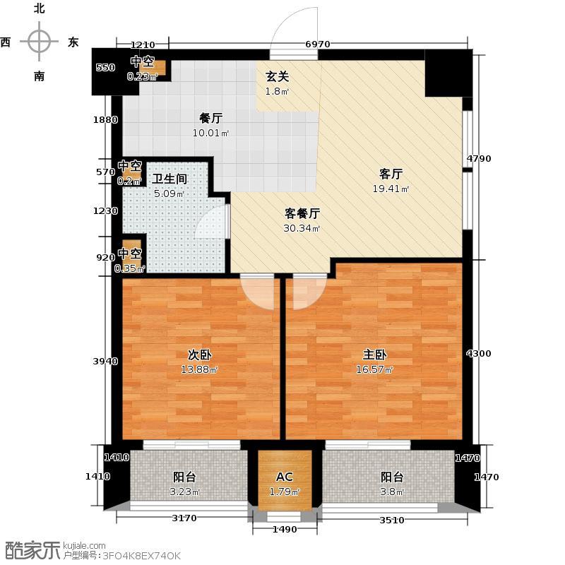 喜盈门范城88.00㎡两室两厅一卫户型2室2厅1卫