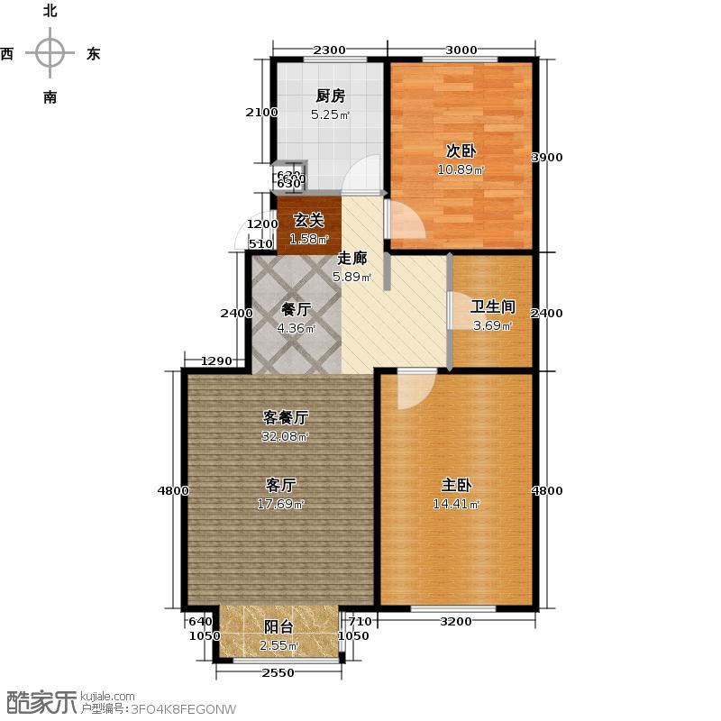 共成玫瑰园3#B两室一单元/三单元户型2室1厅1卫1厨
