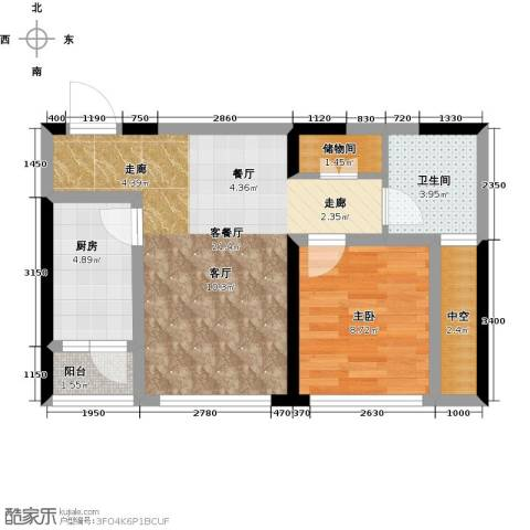 复城国际1室1厅1卫1厨61.00㎡户型图