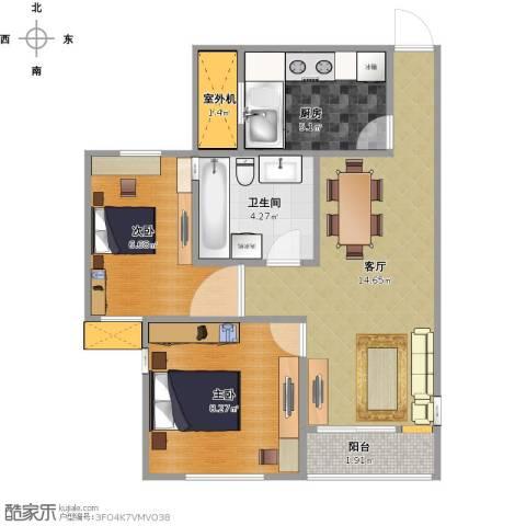 北城铭苑2室1厅1卫1厨59.00㎡户型图
