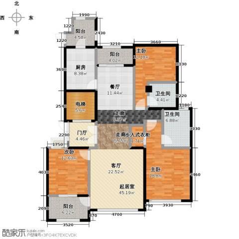石湖天玺3室0厅2卫1厨154.00㎡户型图