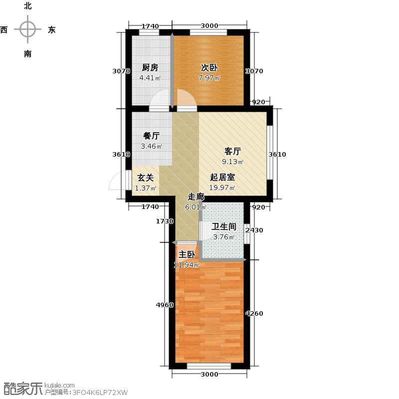 儒林庭枫72.62㎡高层F户型 两室两厅一卫户型2室2厅1卫