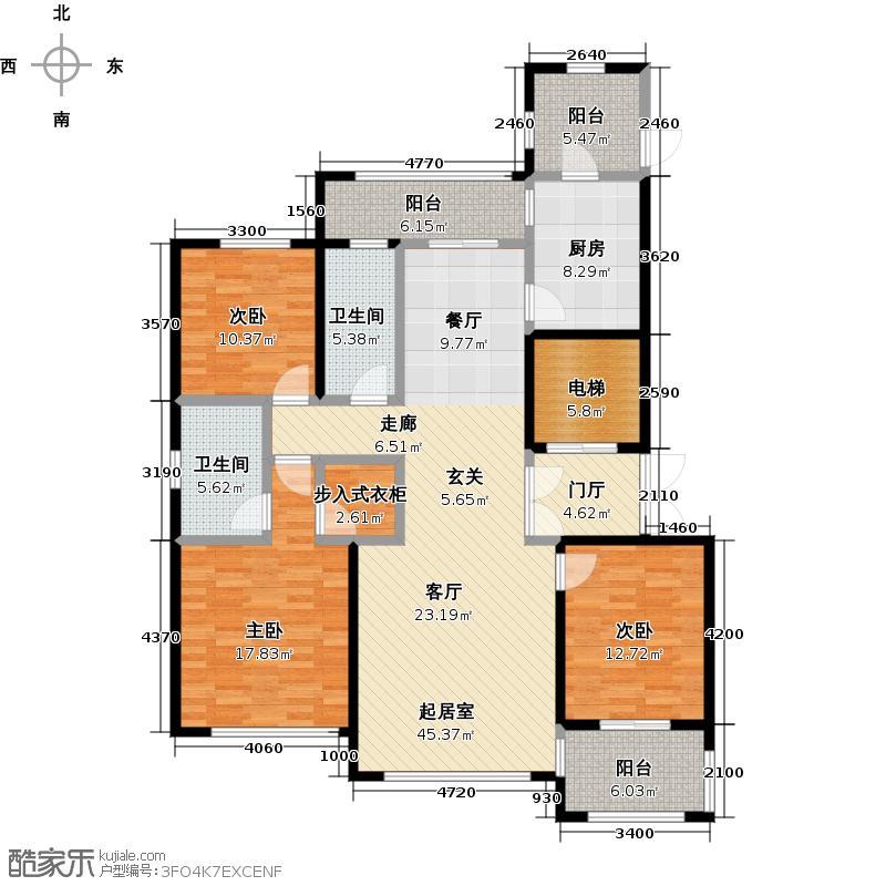 石湖天玺155.00㎡石湖天玺155平户型3室2厅2卫