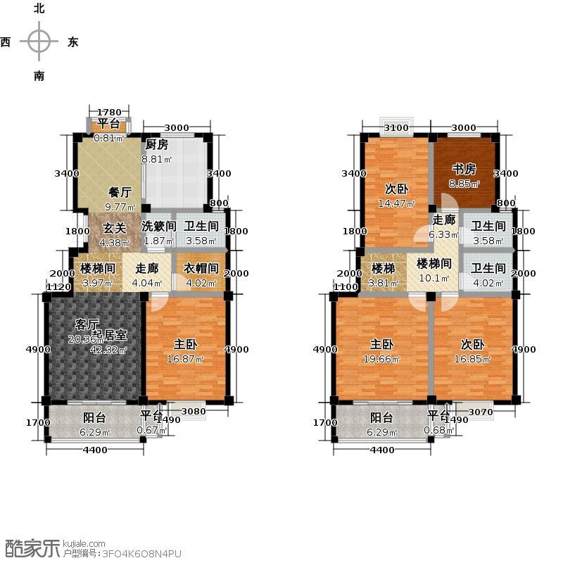 明珠新苑多层C户型五室两厅一厨两卫 面积约208.36平米户型5室2厅2卫