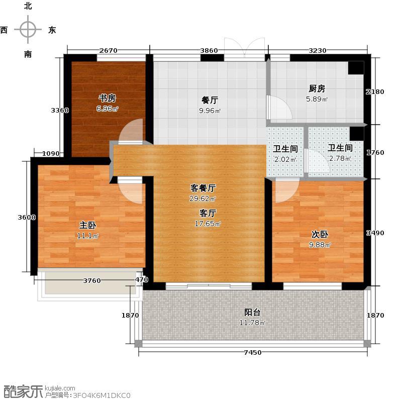 现代府邸88.00㎡A3 奇偶数层 3室2厅1卫1厨户型3室2厅1卫