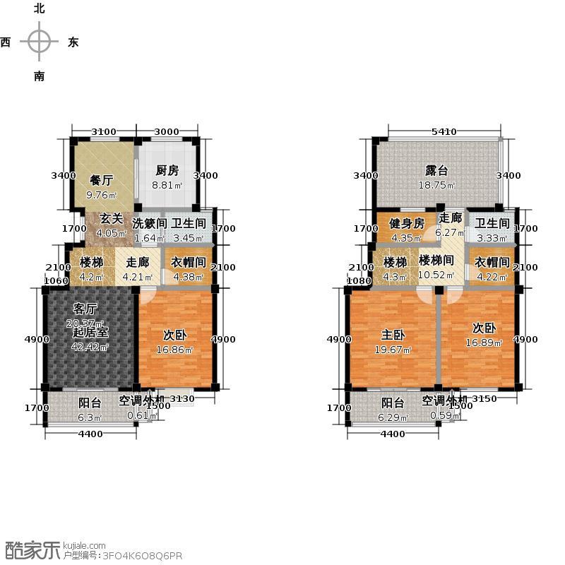明珠新苑多层F户型三室两厅一厨两卫 面积约184.8平米户型3室2厅2卫