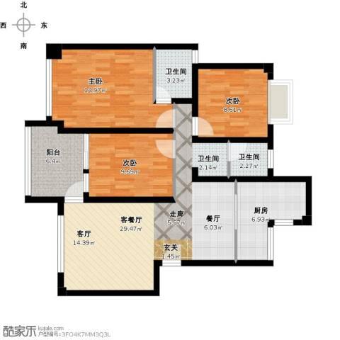 景城名郡3室1厅2卫1厨118.00㎡户型图