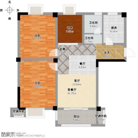 景城名郡3室1厅1卫1厨129.00㎡户型图