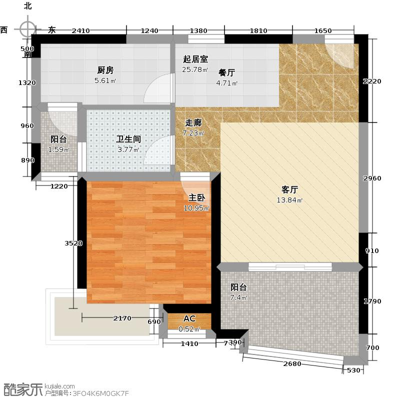 颐景名苑64.00㎡A户型 1室1厅1卫1厨户型1室1厅1卫