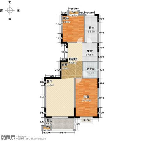 历山名郡一期2室0厅1卫1厨124.00㎡户型图