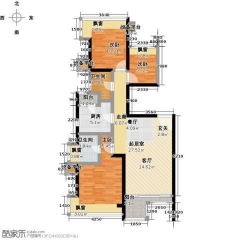 i都会3室0厅2卫1厨90.00㎡户型图