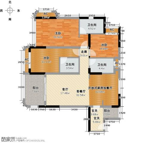 碧桂园・金海湾3室1厅3卫0厨143.00㎡户型图