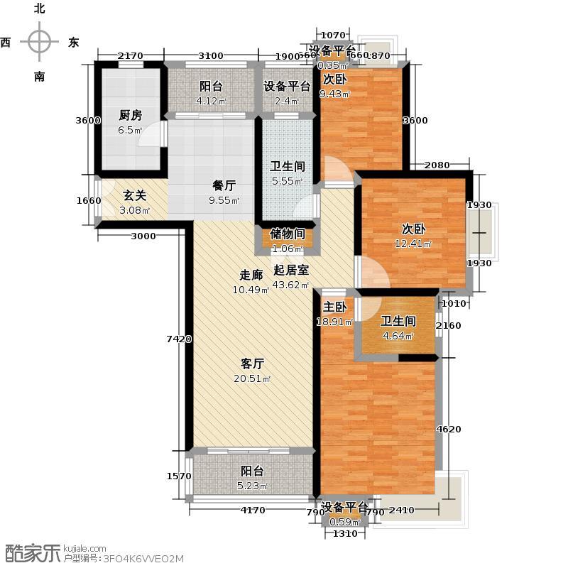 世纪飞凡锦城(世纪长江苑)130.00㎡房型: 三房; 面积段: 130 -140 平方米;户型