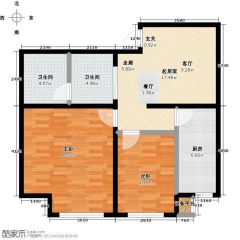 中原车城・铂悦公寓2室0厅2卫1厨87.00㎡户型图