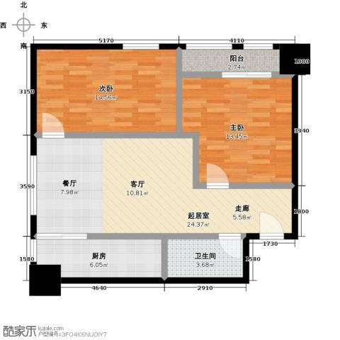 领先心城二期2室0厅1卫1厨74.00㎡户型图