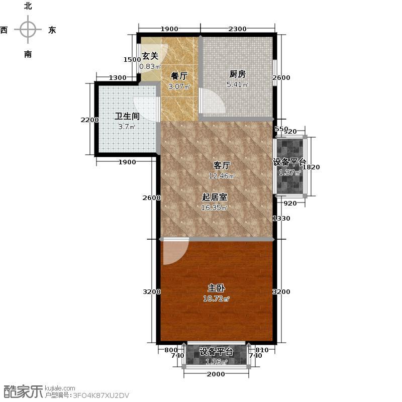 明天第一城45.34㎡五期B1反户型一室一厅一卫户型