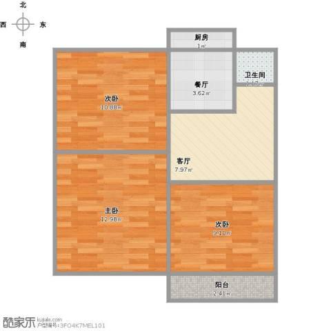 解放东路冶金研究院宿舍3室2厅1卫1厨67.00㎡户型图