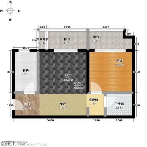 万福大厦(非社区)1卫1厨51.76㎡户型图