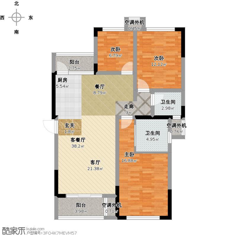 A户型面积约118三室两厅双卫一厨二阳