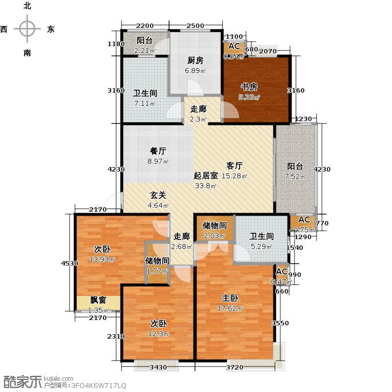 大华阳城花园(七期)130.00㎡房型: 四房; 面积段: 130 -140 平方米;户型