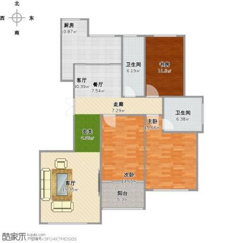 金宸公馆3室1厅2卫1厨147.00㎡户型图