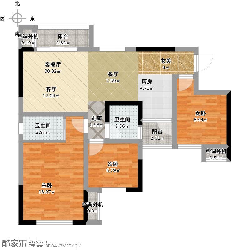 D户型面积约103三室两厅双卫一厨二阳