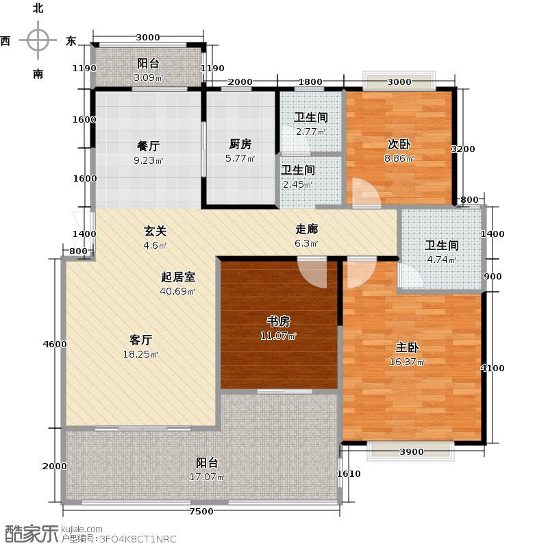 晟通城132.00㎡C户型 三室两厅两卫户型3室2厅2卫